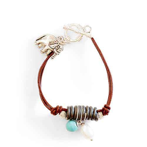 Wood & snare bracelet turquoise