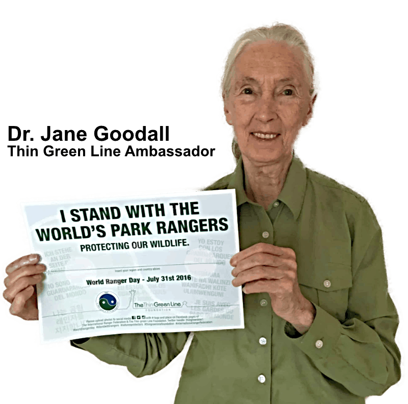 Dr Jane Goodall with the I Stand With Rangers sign
